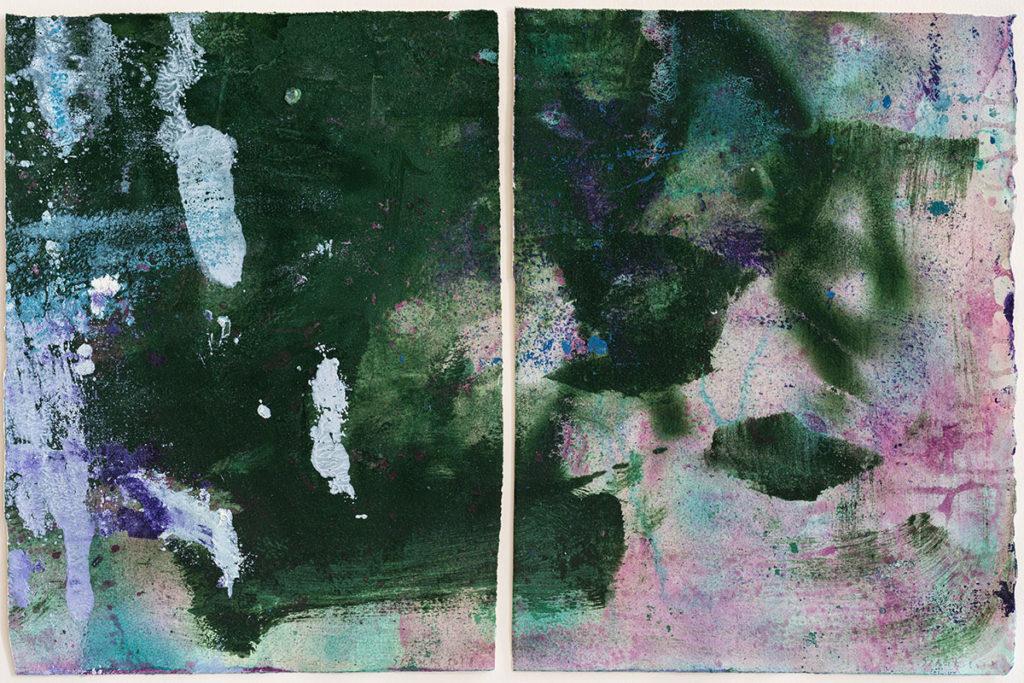 Anne SLACIK : A Marcelle L.1 pigments , huile sur papier velin d'arches, diptyque
