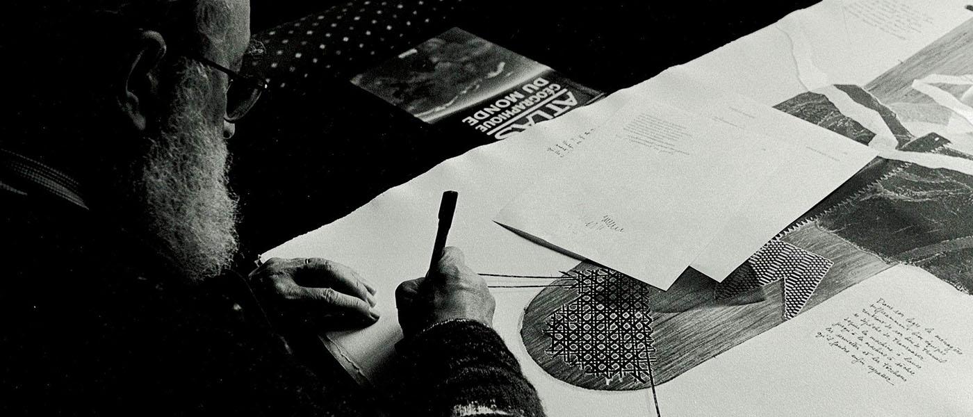Michel Butor au travail, Lucinges, © Maxime GODARD