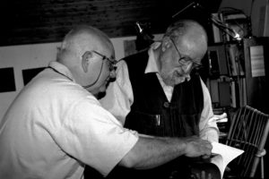 Michel Butor et Raphaël Monticelli, Lucinges, 1997, photo Marc Monticelli